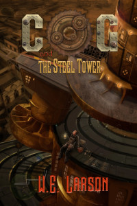 W.E. Larson's 'Cog and the Steel Tower' – book cover art
